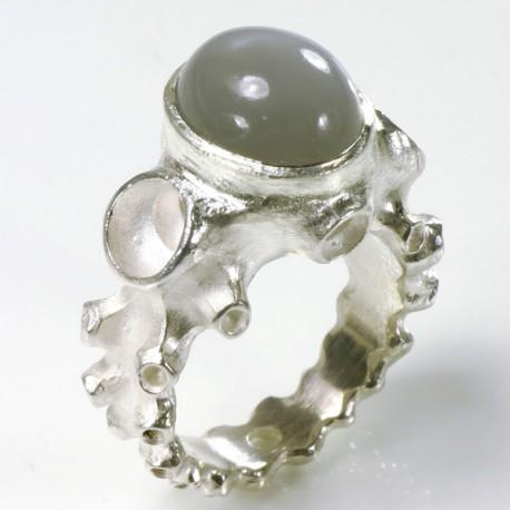 Octopus ring, 925- silver moonstone
