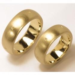 Domed wedding rings 14 k gold