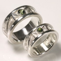 Ornamented wedding rings, 925 silver, tourmalines