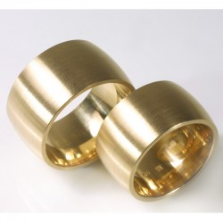 Wide domed wedding rings, 750 gold