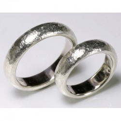 Wedding rings, 925 silver, rough surface