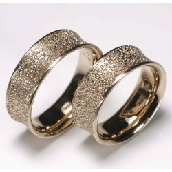 Concave wedding rings, 750- red gold