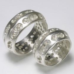 Eheringe, 925- Silber, durchbrochene Oberfläche