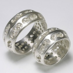 Wedding rings, 925 silver, openwork surface