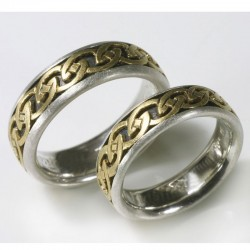 Wedding rings, celtic, 925- silver, 750- gold