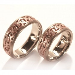 Wedding rings, celtic, 585 red gold and white gold