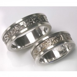 Wedding rings with writing on the outside, 925 silver