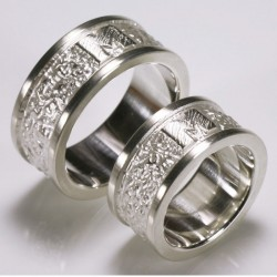 Wedding rings, 925 silver, initial outside