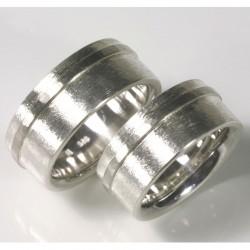Wedding rings with stripes, 925 silver, palladium