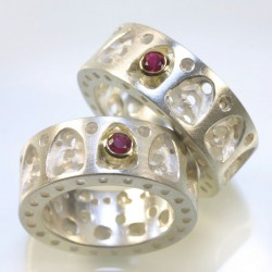 Wedding rings, 925- silver, 750- gold, Gothic ornament, rubies