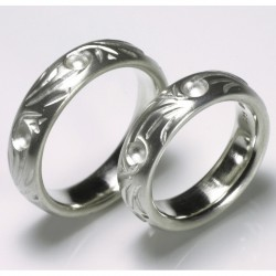 Domed, engraved wedding rings, 925 silver