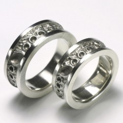 Wedding rings, 925 silver, moon surface