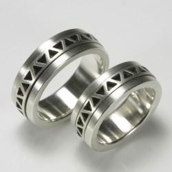 Wedding rings, 925 silver, ZZ ornament