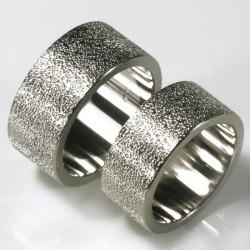 Wedding rings, 950 palladium, grainy surface