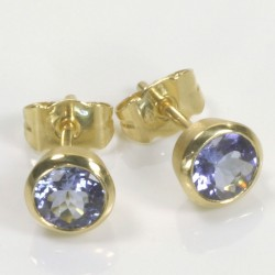 Stud earrings, 750 gold, tanzanite
