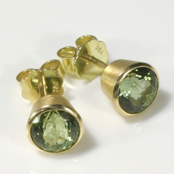 Stud earrings, 750 gold, tourmalines
