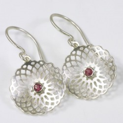 Earrings, 925 silver, rubies