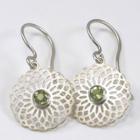 Earrings, 925 silver, demantoids