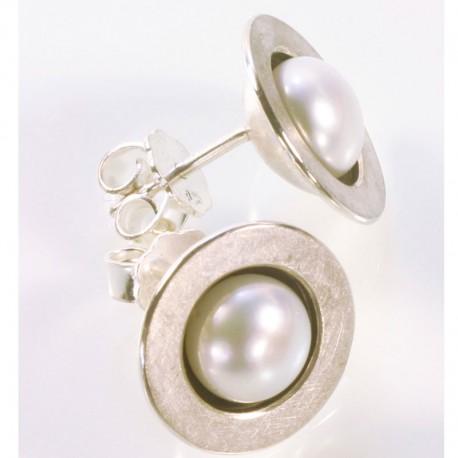 Stud earrings, 925 silver, pearls