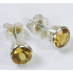 Stud earrings, 925 silver, citrine