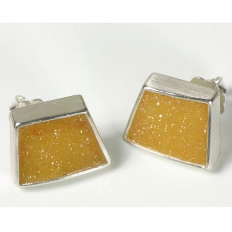Stud earrings, 925 silver, yellow agate