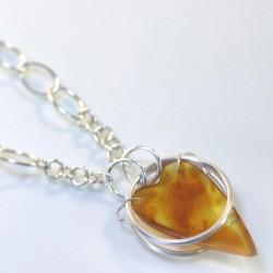 Pendant, 925 silver, amber