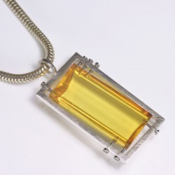 Pendant, amber 925 silver, steel