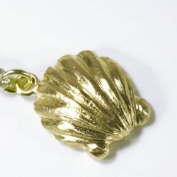 Charm pendant shell, green diamond, 750- gold