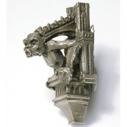 Brooch / pendant, gargoyle, silver-plated copper