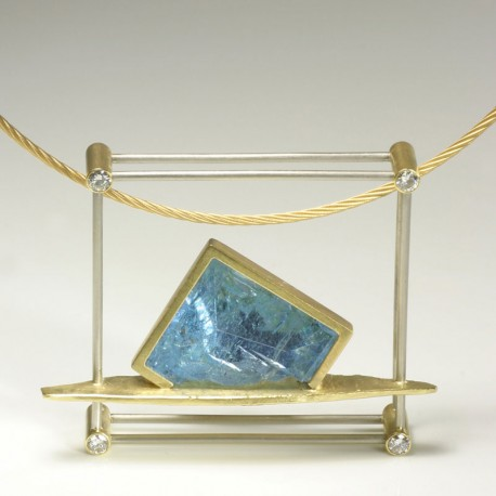 Pendant, 750 gold, palladium, diamonds, aquamarine