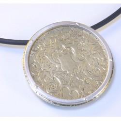 Anhänger, 750- Gold, 925- Silber, Uhrdeckel