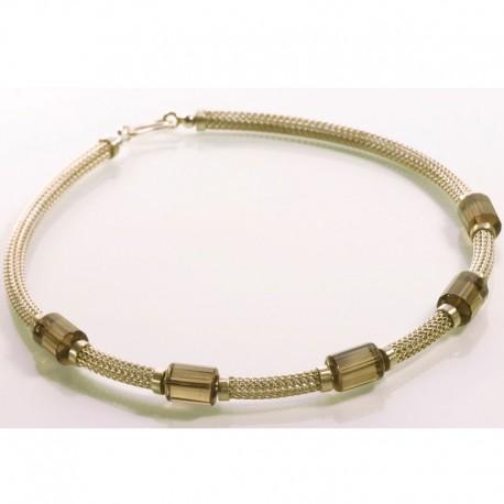 Necklace, 925 silver, smoky quartz