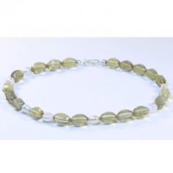 Kette, 925- Silber, Lemoncitrin, Perlen