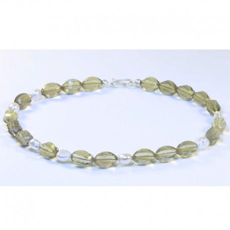 Necklace, 925- silver, lemon citrine, pearls
