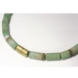 Chain, 750 gold, chrysoprase rollers