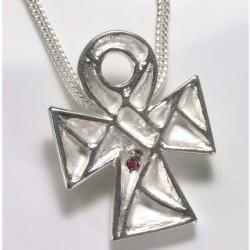Anhänger, koptisches Kreuz, 925- Silber, Rubin