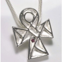 Pendant, Coptic cross, 925 silver, ruby