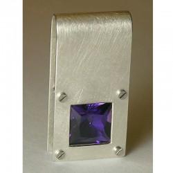 Pendant, 925 silver, amethyst carré
