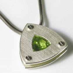 Pendant, 925 silver, peridot triangle