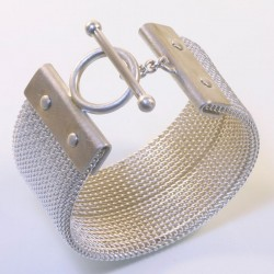 Bangle, 925 silver, silver-plated brass