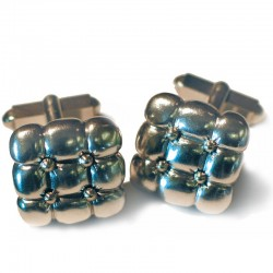 Cufflinks upholstered, 925- silver, 750- gold