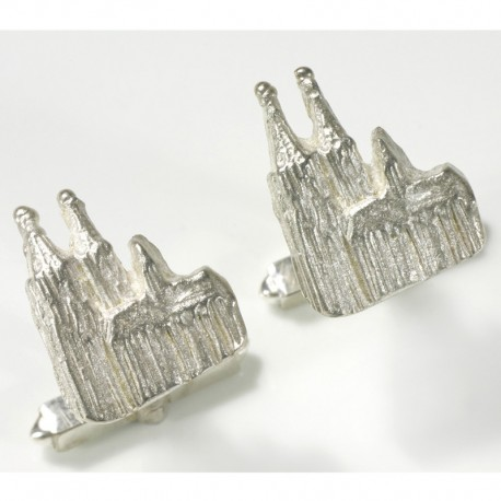 Cufflinks, 925 silver, Cologne cathedral relief