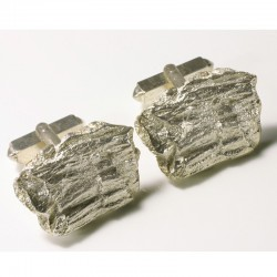 Cufflinks, 925 silver, redwood bark, square