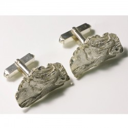 Cufflinks, 925 silver, redwood bark
