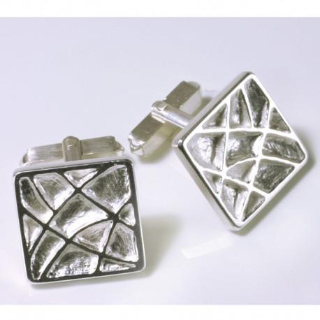 Cufflinks, 925 silver, cassette ornament