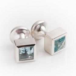 Manschettenknöpfe, 925- Silber, Aquamarin Quadrate