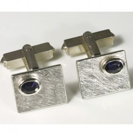 Cufflinks, 925 silver, sapphires