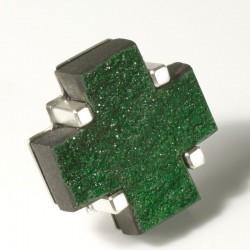 Anstecker, 925- Silber, Uwarowith Kreuz