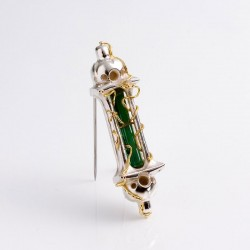 Temple brooch, 925 silver, 900 gold, tourmaline