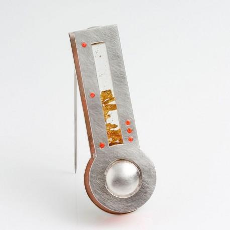 Brosche, 925 Silber, Blattgold, Glas